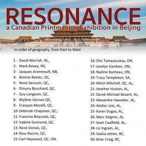 List of the artists for RESONANCE 290x290 - Resonance: Canadian Contemporary Printmaking Exhibition on Display in Beijing