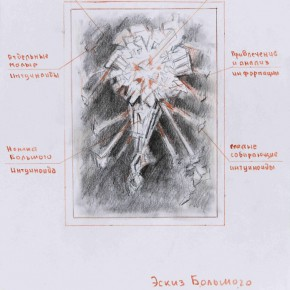 "Sergey Dozhd Super Instinctive Bigotry 2013 paper red pencil 42 x29.7 cm 290x290 - ""PSY ART of Dozhd After Malevich's Black Square..."" opening June 19 at Today Art Museum"