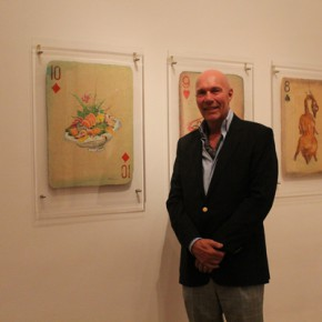 """03 Jurgen Stacker Chairman of the board of directors of Stacker Foundation stood in front of Huang Yong's works 290x290 - Huang Yong's Solo Exhibition """"Food Game"""" debuted in Berlin, Playing """"Food Game"""" together with Texas Poker"""