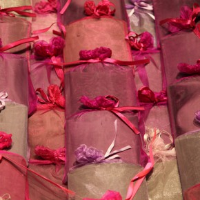 12 Jiang Jie, Pink Utopia, tiles, silk bags, irregular, 2009-2010
