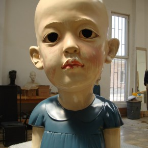 39 Jiang Jie, A Red Child, resin, paint spraying, synthetic hairs, 80cm, 2006