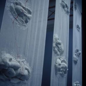 50 Jiang Jie, Come Down to Earth, gauze, paper, 400 x 80 cm x 3, 1999