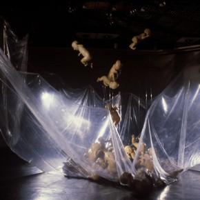 71 Jiang Jie, Fragile Products, gauze, wax, plastic film, irregular size, 1994