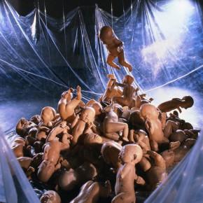 72 Jiang Jie, Fragile Products, gauze, wax, plastic film, irregular size, 1994