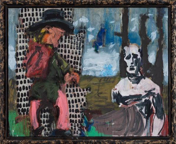 Markus Lüpertz, Die Vision des Poussin, mixed media, oil on canvas, 130 x 162 cm, 2012