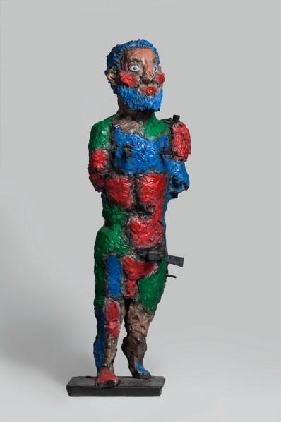 Markus Lüpertz, Hercules Design Model 2, 2009; Color paint on bronze, 116 x 27 x 27 cm