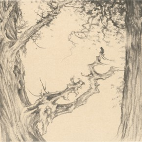 04 Qiu Ting, Three Treasures Tree in the Mount Lu, ink on paper, 76 x 48 cm, 2013