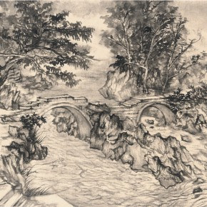 22 Qiu Ting, Dailong Bridge, ink on paper, 46 x 70 cm, 2013