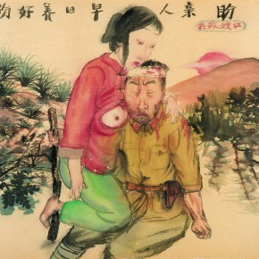 08 Li Jin The Red Sister rescue a solider 2007 ink and color on paper 43×45cm 290x290 - The Sensory Life of the Mass — 30 Years of Li Jin Exhibiting at Long Museum