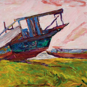 09 Luo Erchun, The Old Wooden Boats, oil painting, 80 x 144 cm, 2009