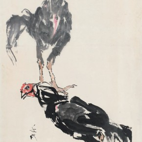 100 Luo Erchun, Cocks' Fight, Chinese painting, 136 x 69 cm, 1992