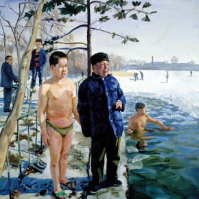 "12 Liu Xiaodong A White Fat Man and His Father oil on canvas 200 x 200 cm 2000 collected by the artist 290x290 - ""The Temperature of History: CAFA and Chinese Representational Oil Paintings"" opening at the Ancestral Temple Art Gallery"