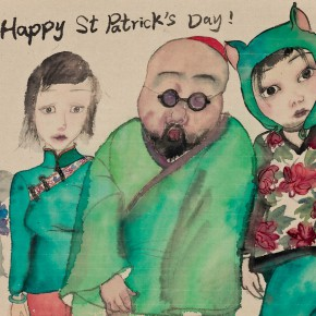17 Li Jin Happy St. Patrick Day 2013 ink and color on paper 43×38cm 290x290 - The Sensory Life of the Mass — 30 Years of Li Jin Exhibiting at Long Museum