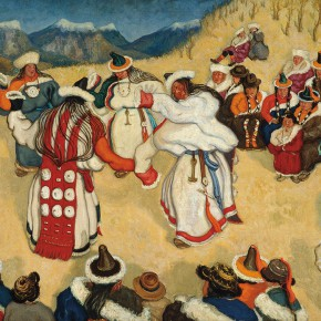 "17 Sun Zongwei Mongolian Women Singing and Dancing oil on canvas 82 x 121 cm 1942 collected by CAFA Art Museum 290x290 - ""The Temperature of History: CAFA and Chinese Representational Oil Paintings"" opening at the Ancestral Temple Art Gallery"