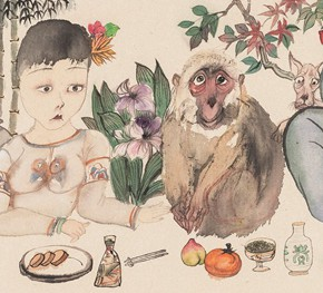 19 Li Jin The Natural Instinct of Man 2014 ink and color on paper 68×35cm 290x263 - The Sensory Life of the Mass — 30 Years of Li Jin Exhibiting at Long Museum