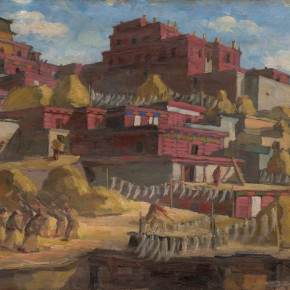 20 Wen Jinyang Threshing of Highland Barley 1951 Oil painting 53×40cm 290x290 - Expert in the Principles of Art: the Exhibition in Celebration of the 100th Birthday of Mr. Wen Jinyang Opening at CAFA Art Museum