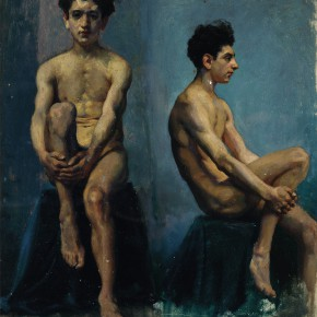 "23 Xu Beihong Front view and profile sketches of a male nude oil on canvas 52 x 44 cm oil on canvas 1924 collected by CAFA Art Museum 290x290 - ""The Temperature of History: CAFA and Chinese Representational Oil Paintings"" opening at the Ancestral Temple Art Gallery"