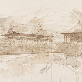 29 Chen Jiong Palace and Hall mixed media on paper 112x62cm 290x290 - Sinic Designer: Solo Exhibition by Chen Jiong opened in Beijing