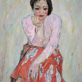 30 Luo Erchun, Portrait of A Woman with a Red Skirt, oil painting, 92 x 73 cm, 1980