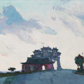 42 Luo Erchun, Putuo Buddhist Temple, oil painting, 51 x 61 cm, 1995
