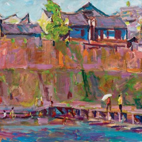 44 Luo Erchun, Riverside of the Phoenix Town, oil painting, 60 x 70 cm, 2014