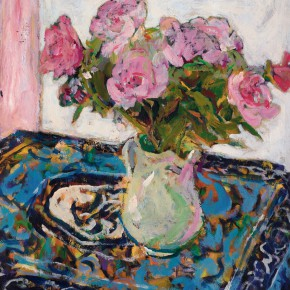 45 Luo Erchun, Pink Flowers, oil painting, 72.5 x 60 cm, 2009