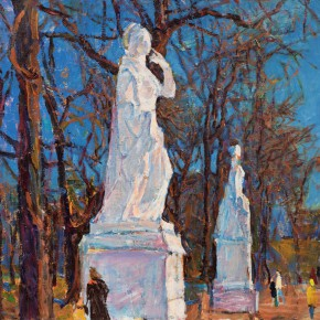 50 Luo Erchun, The Statues, oil painting, 58 x 67.5 cm, 2012