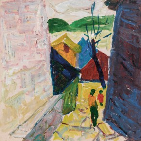 58 Luo Erchun, Entrance to a Village, oil painting, 31.5 x 32 cm, 2012