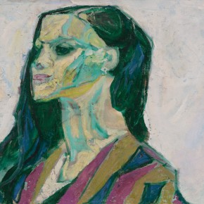 59 Luo Erchun, Profile of the Girl Wearing a Striped Cloth, oil painting, 41.5 x 57 cm, 1986