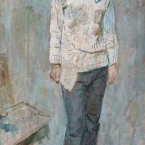 60 Luo Erchun, The Young Woman Wearing Jeans, oil painting, 146 x 75 cm, 1979