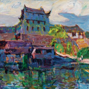 61 Luo Erchun, A Tower Over a City Gate, oil painting, 60 x 73 cm, 2008