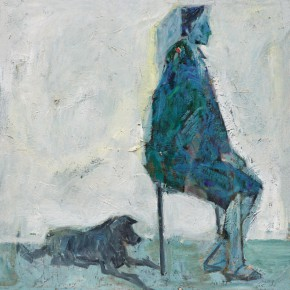 65 Luo Erchun, Profile of a Man Sitting on a Stool, oil painting, 46 x 46 cm, 2009