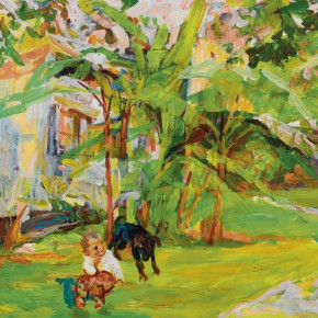 67 Luo Erchun, The Child and a Dog in the Lawn, oil painting, 80 x 100 cm, 2014