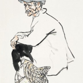 81 Luo Erchun, The Old Man Sitting, Chinese painting, 69 x 46 cm, 2014