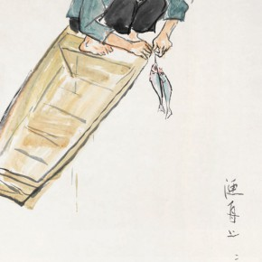 82 Luo Erchun, Fishing Boat in the Evening, Chinese painting, 137 x 69 cm, 2014
