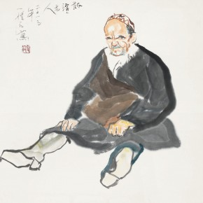84 Luo Erchun, The Senior Man from Xinjiang, Chinese painting, 68 x 68 cm, 2013