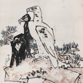 89 Luo Erchun, Double Eagles with Pine Trees and Stone Figure, Chinese painting, 100 x 99 cm, 1983
