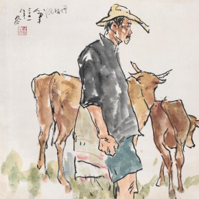 92 Luo Erchun, To Pasture Cattle, Chinese painting, 68 x 69 cm, 2011