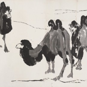 93 Luo Erchun, The Camels, Chinese painting, 77 x 107 cm, in the 1970s