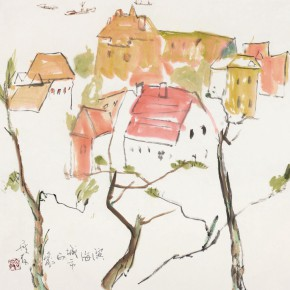 96 Luo Erchun, Impression of the Coastal City, Chinese painting, 69 x 69 cm, 2014