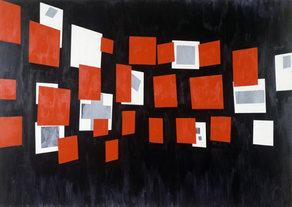 "David Diao,""Glissement,"" 1984, Acrylic paint on canvas, 70 x 100 inches, Courtesy of Pierogi Gallery"