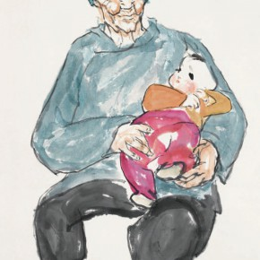 Luo Erchun, The Grandma Holding a Baby, Chinese painting, 98 x 60 cm, 2014
