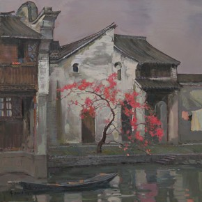 06 Ding Yilin, At the Place Where the Peach Blossom is Blooming, 118 x 118 cm, 2011