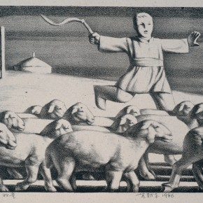 17 Su Xinping Shepherd Boy 1986 lithograph 29×40cm 290x290 - Landscapes with Ritualistic Practices: Su Xinping Solo Exhibition Opening October 18 at Guangdong Museum of Art