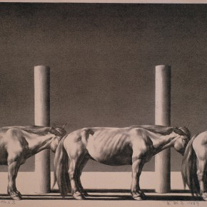 18 Su Xinping Wood Pile and Horses 1989 lithograph 47×62cm 290x290 - Landscapes with Ritualistic Practices: Su Xinping Solo Exhibition Opening October 18 at Guangdong Museum of Art