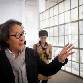 "22 Xu Bing introduced his work to honored guests 290x290 - KCCA announces its opening with the exhibition ""Three and One Thirds: Shang Yang × Liang Shaoji × Xu Bing"""