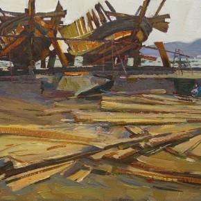 61 Ding Yilin, A Shipyard, 70 x 55 cm, 2006
