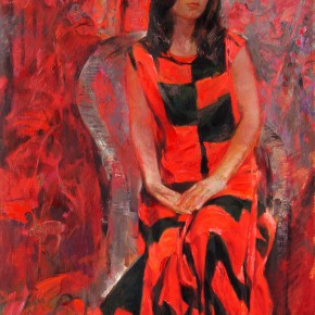 84 Ding Yilin, The Girl in Red, 145 x 97 cm, 1998