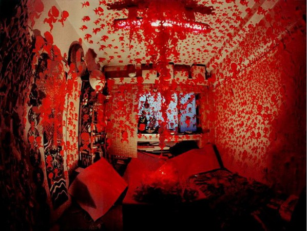 Lv Shengzhong, Hall of Calling the Soul, 117x121x195 inches, Parper-cut, installation, 1990