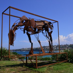 Harrie Fasher, boxed, Sculpture by the Sea, Bondi 2015. Photo Clyde Yee